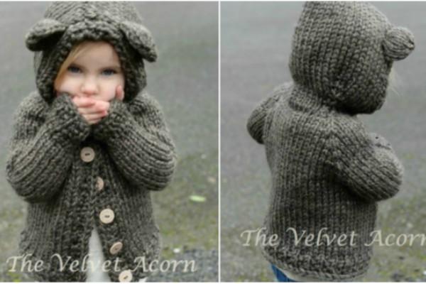 Bear Hood Knitting Pattern Sweater Feature Image