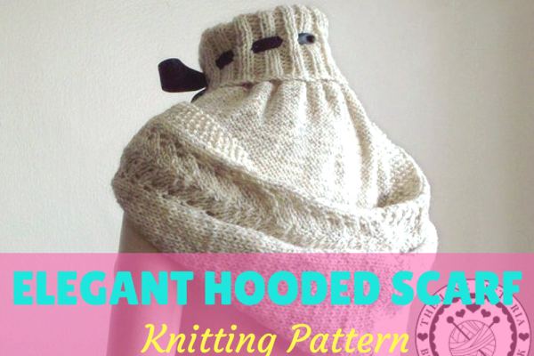 Womens Knit Hooded Scarf Pattern Feat