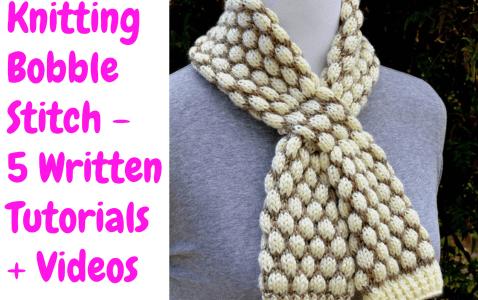 Bobble Stitch Easy Scarf Knitting Pattern For Beginner Knitters (1)