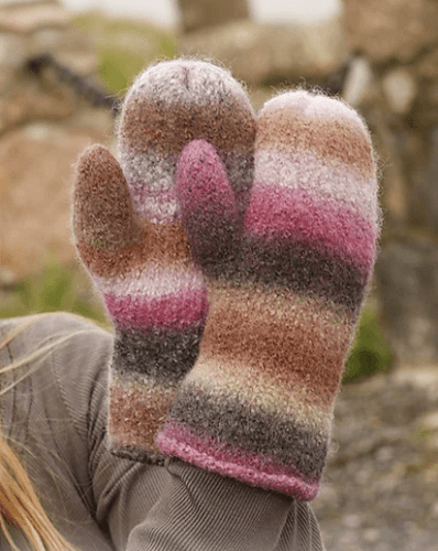 Candy Crush Mittens Knitting Pattern by Drops Design