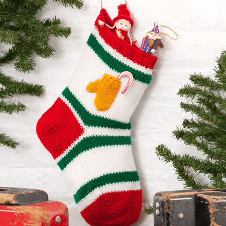 Holiday Stocking With Mitten Pocket Knitting Pattern by Red Heart