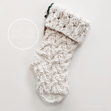 Magnolia Christmas Stocking Knitting Pattern by White Oak Knits