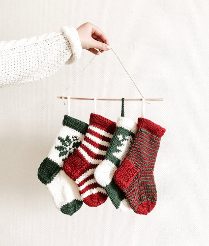 Mini Christmas Stockings Knitting Pattern by Kati Maaria Knits