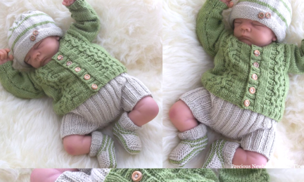 ca3701e21cb99 Newborn Baby Cardigan Knitting Pattern Also Incl. Hat