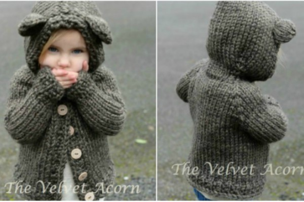 Bear Hood Knitting Pattern Sweater Feature Image