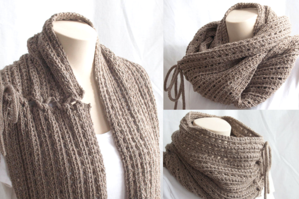 Easy Knit Cowl Scarf Pattern Feat