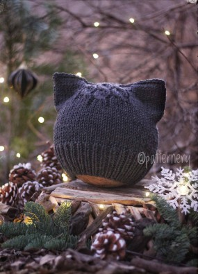Halloween Version Of The Kitty Ear Hat Knitting Pattern