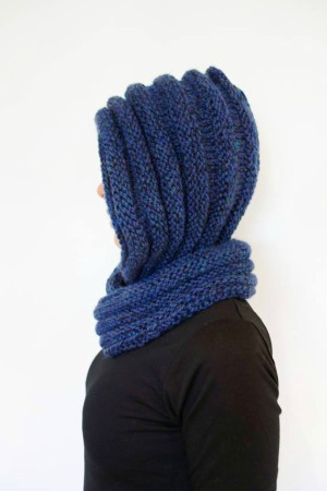 Hooded Ribbed Eternity Scarf Pattern