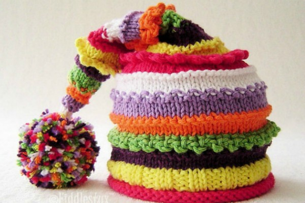 Rainbow Knit Stocking Hat Pattern Feat