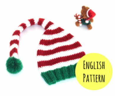 Knitted Elf Hat Christmas Pattern