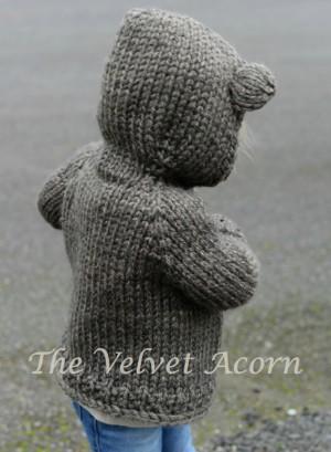 Knitting Pattern Bear Hood Cardigan
