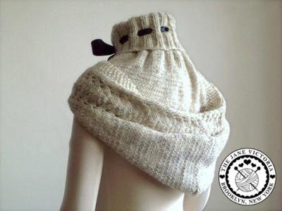 Ladies Hooded Scarf Knitting Pattern