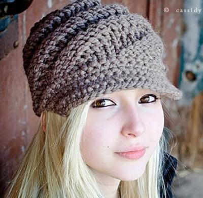 Ladies Visor Beanie Knitting Pattern