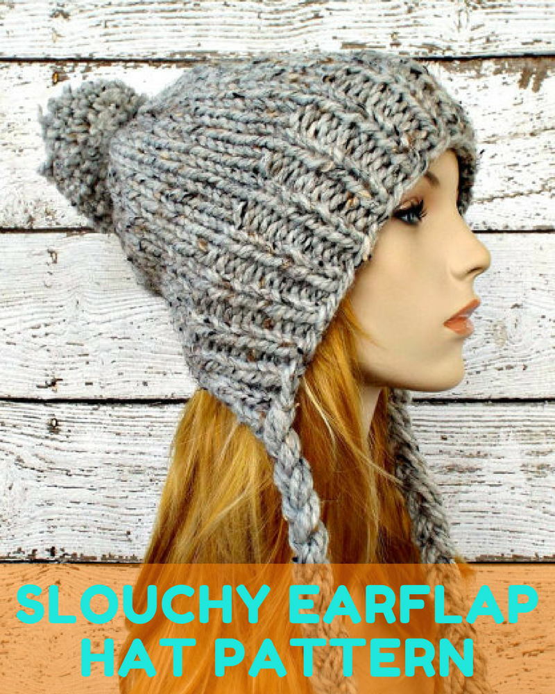 Knitted Slouchy Earflap Hat Pattern With Pom Pom - Knitting News