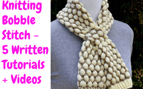 Bobble Stitch Easy Scarf Knitting Pattern For Beginner Knitters (1)