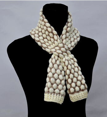 Bobble Stitch Easy Scarf Knitting Pattern For Beginners