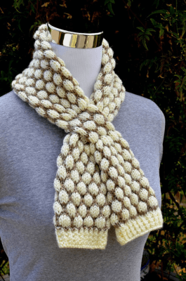 Bobble Stitch Scarf Knitting Pattern For Beginners
