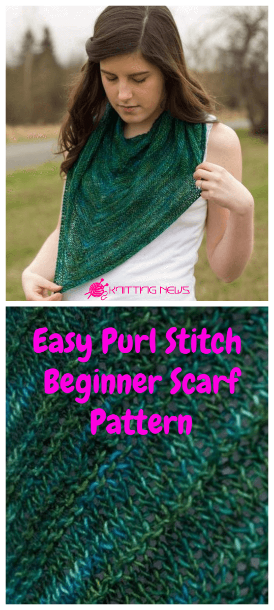 Easy Purl Stitch Beginner Scarf Pattern
