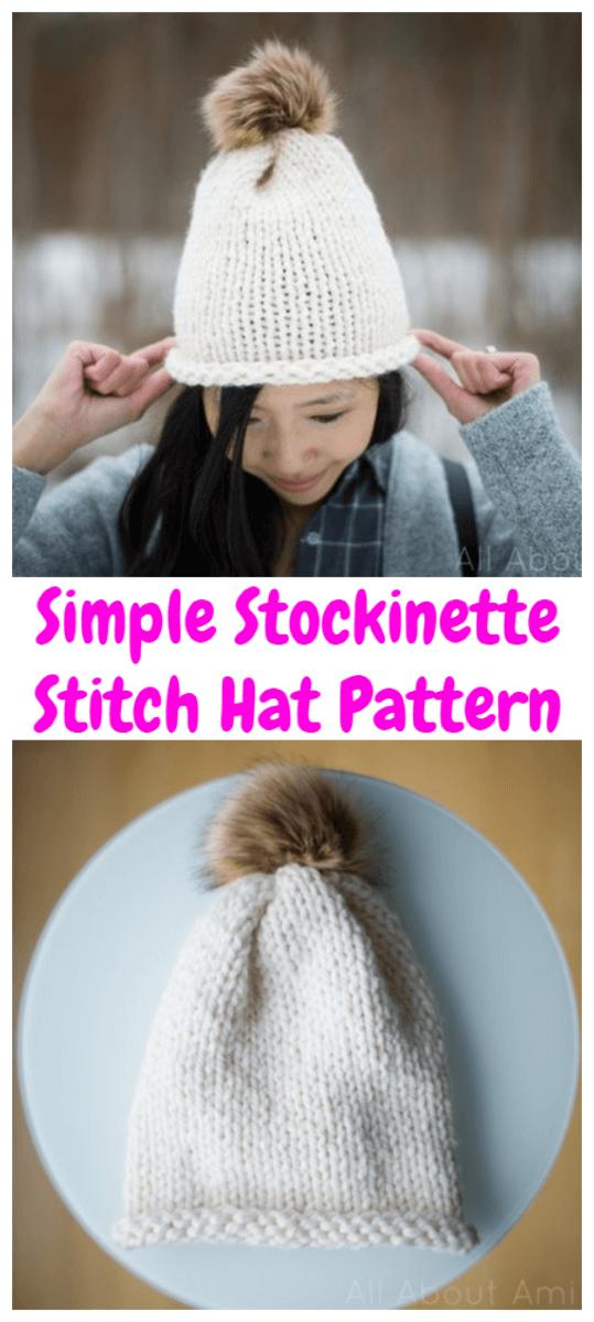 Stockinette Stitch Hat Pattern Tutorial