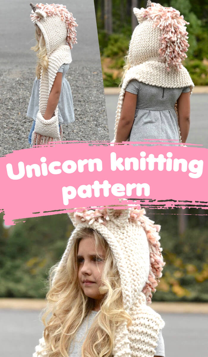 Unicorn Hooded Sleeve Knitting Pattern