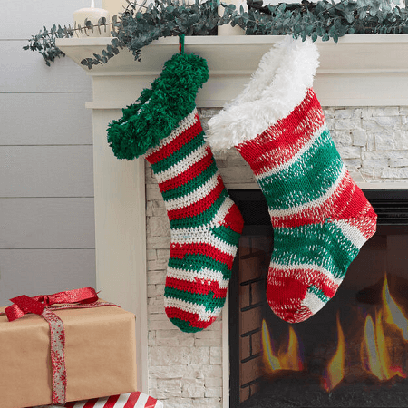 Christmas Stocking With Fur Trim Knitting Pattern by Red Heart