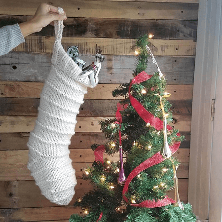Chunky Knit Christmas Stocking Pattern by Corabelle And Bree