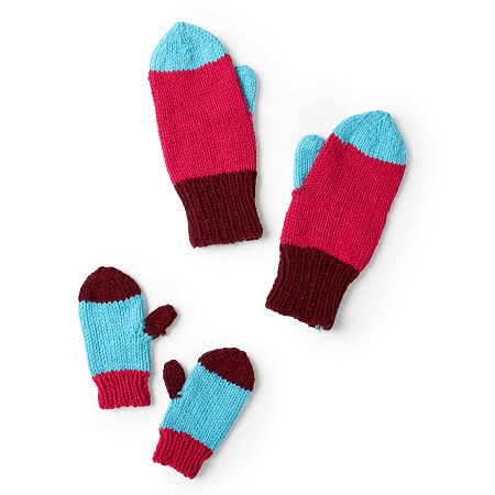 Colorblock Knit Mittens Pattern by Red Heart