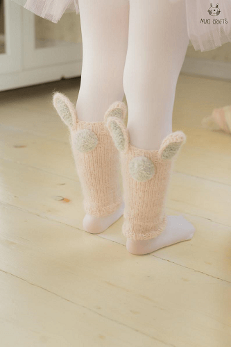 Easy Bunny Leg Warmers Knitting Pattern by Muki Crafts