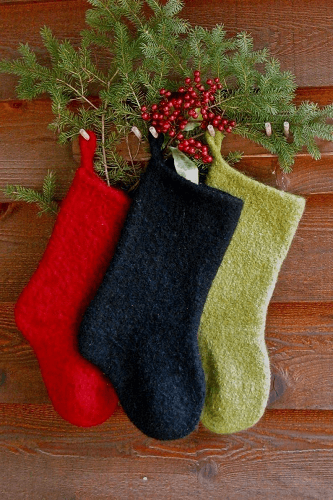 Felted Christmas Stocking Knitting Pattern by Annie's Woolens
