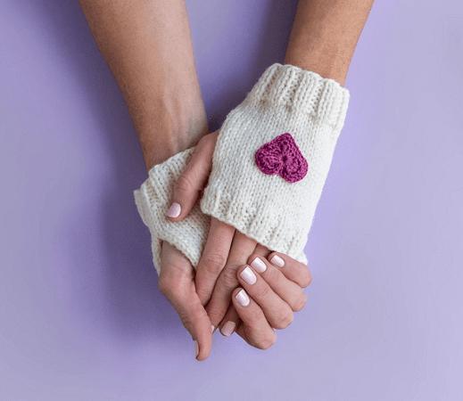 Heart Fingerless Knit Mitten Pattern by Craftsy