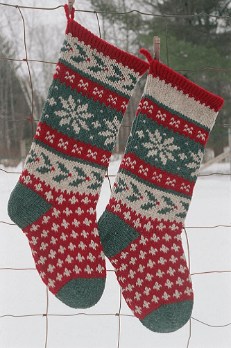 Holly Stocking Knitting Pattern by Annie's Woolens