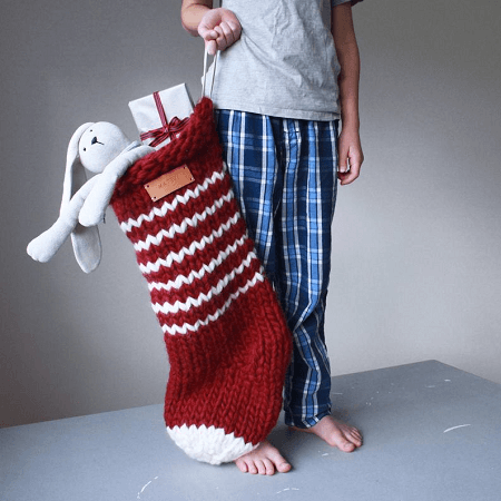 Jumbo Christmas Stocking Knitting Pattern by Prinku