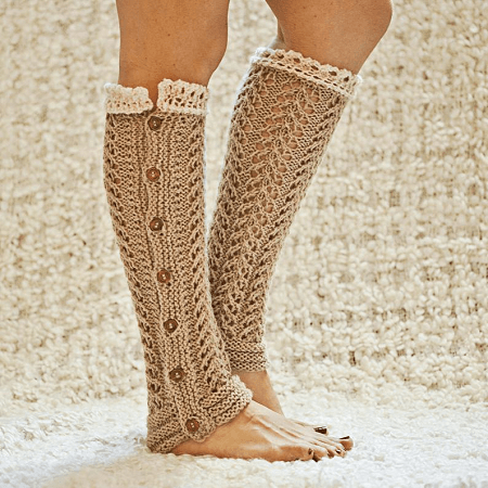Knit Lace Leg Warmers Pattern by Mon Petit Violon