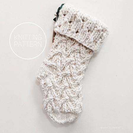 Magnolia Christmas Stocking Knitting Pattern by White Oak Knits
