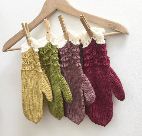 Scallop Mittens Knitting Pattern by Hand Knitted Things