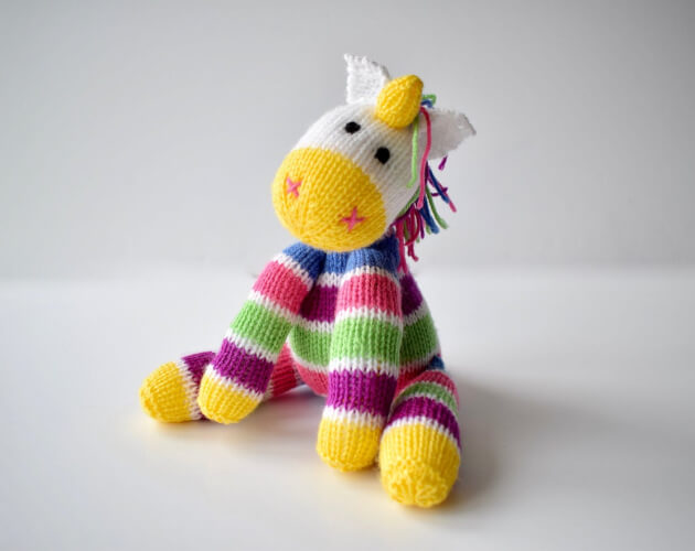 Aurora the Unicorn Toy Knitting Pattern by Fluffandfuzz