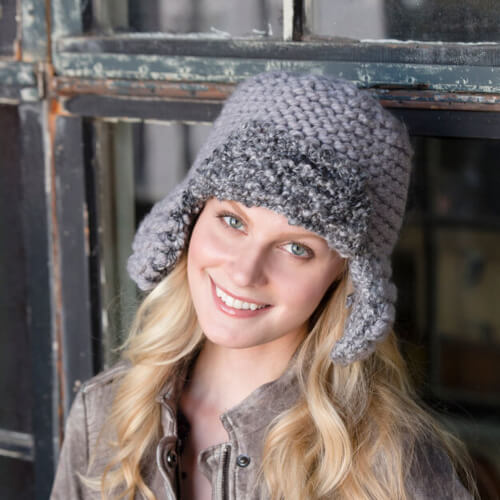 Adult Unisex Red Heart Mixed Knit Aviator Hat Pattern by Yarnspiration