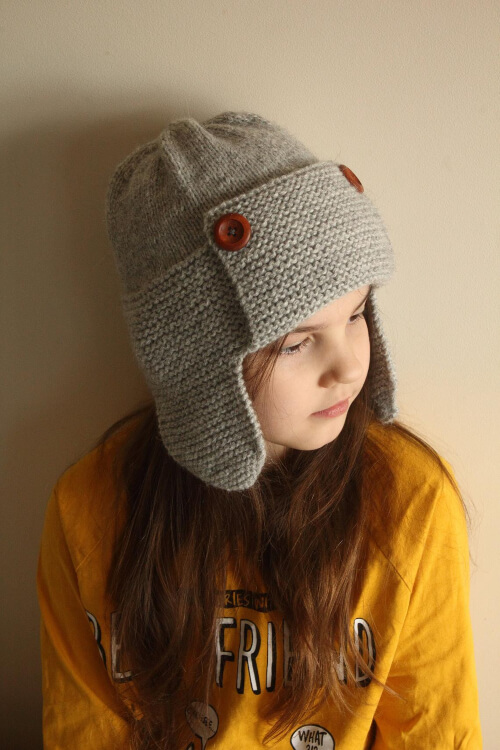 Adult Bomber Knit Aviator Hat Pattern by Kaitlin Blasing