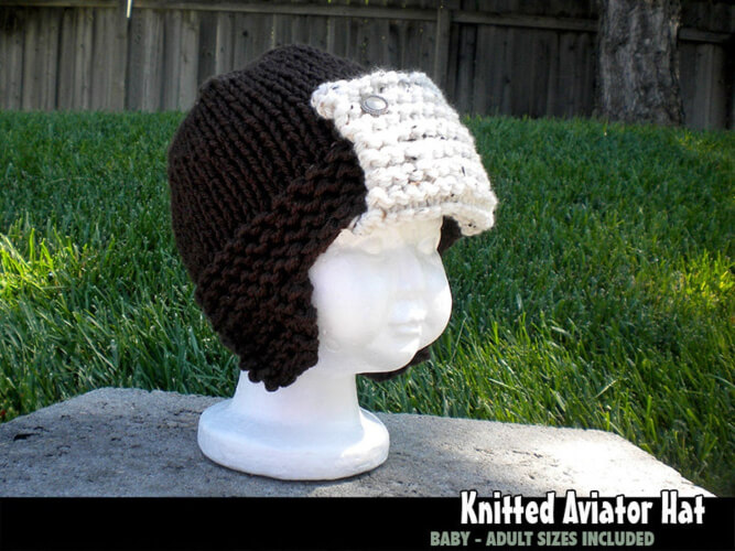Knitted Aviator Hat Pattern by AuntJanetDesigns