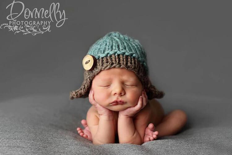 Newborn Knitted Aviator Hat Pattern by Knitzandpurls