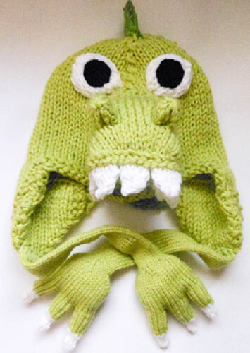 Animal Dinosaur Knitting Pattern Hat with Ear Flaps by WistfullyWoolen