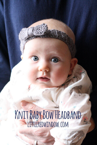 Baby Bow Knitted Headband Pattern by LittleRedWindow