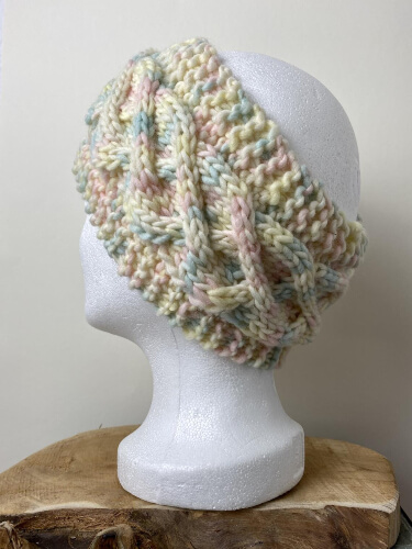Chunky Cable Knitted Headband Pattern by PompomsRock
