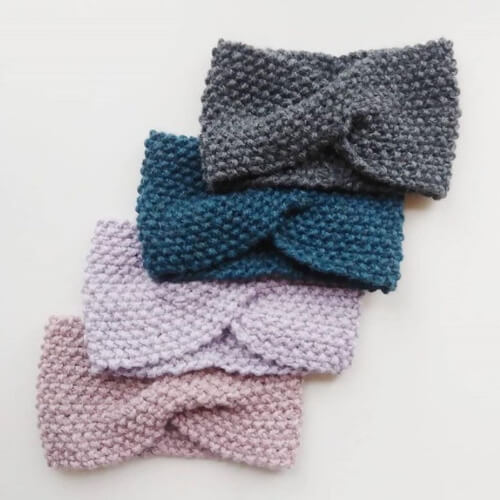 Cozy Earwarmer with Twist Knitting Headband Pattern by IsKnit