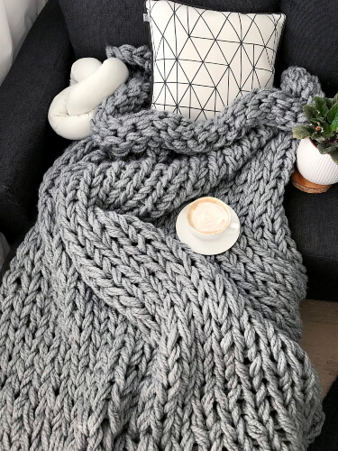 DIY Chunky Knit Blanket Kit from AnzyHomeShop