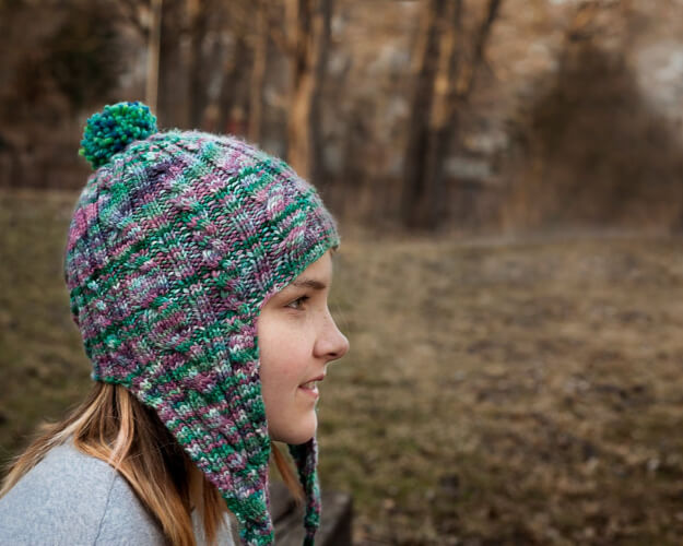 Elysium's Cabled easy earflap hat knitting pattern