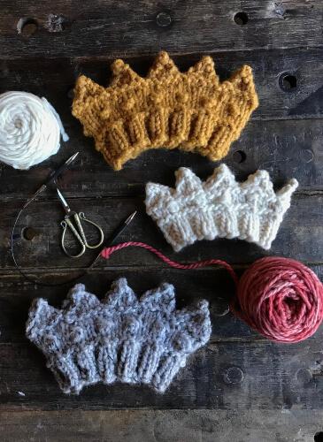 Knit Crown Headband Ear Warmers with BONUS Baby Crown Pattern by SydneyAndGrace