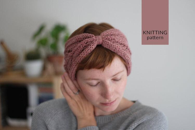 Reversible Lace Knitted Headband Pattern by NutsknitwearDesign