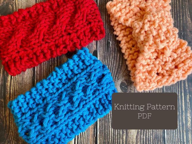 Trio of Ear Warmer Knitting Headband Pattern by PompomsRock