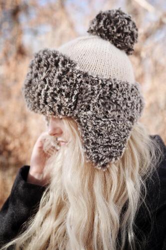 Winter Fur Earflap Hat Knitting Pattern by Darling Jadore